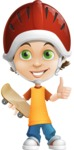 Cool Boy Cartoon Vector Character AKA Jamie Just-Chill - Skateboard