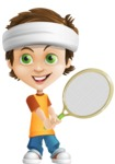 Cool Boy Cartoon Vector Character AKA Jamie Just-Chill - Tennis