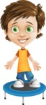 Cool Boy Cartoon Vector Character AKA Jamie Just-Chill - Trampoline