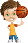 Cool Boy Cartoon Vector Character AKA Jamie Just-Chill - Basketball