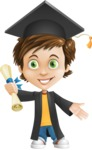Cool Boy Cartoon Vector Character AKA Jamie Just-Chill - Graduate