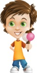 Cool Boy Cartoon Vector Character AKA Jamie Just-Chill - Ice Cream