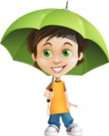 Cool Boy Cartoon Vector Character AKA Jamie Just-Chill - Umbrella