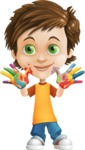 Cool Boy Cartoon Vector Character AKA Jamie Just-Chill - Colored Hands