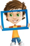 Cool Boy Cartoon Vector Character AKA Jamie Just-Chill - Frame