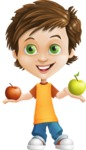 Cool Boy Cartoon Vector Character AKA Jamie Just-Chill - Apples