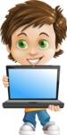 Cool Boy Cartoon Vector Character AKA Jamie Just-Chill - Laptop 1