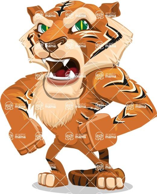 Cute Tiger Cartoon Vector Character AKA Tiger Bone - Angry