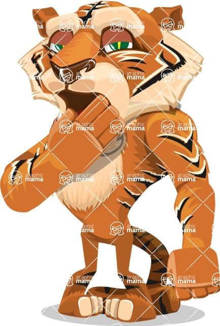 Cute Tiger Cartoon Vector Character AKA Tiger Bone - Bored