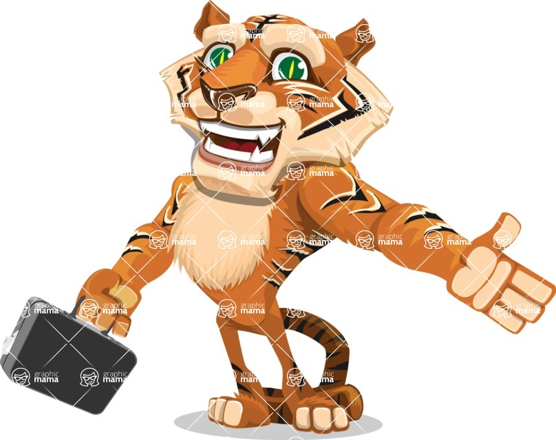 Cute Tiger Cartoon Vector Character AKA Tiger Bone - Briefcase 1