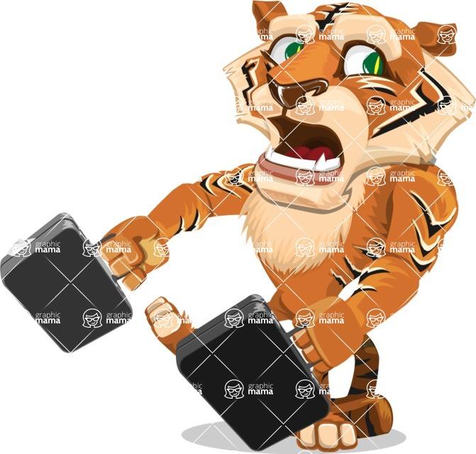 Cute Tiger Cartoon Vector Character AKA Tiger Bone - Briefcase 3