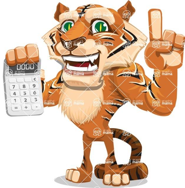 Cute Tiger Cartoon Vector Character AKA Tiger Bone - Calculator