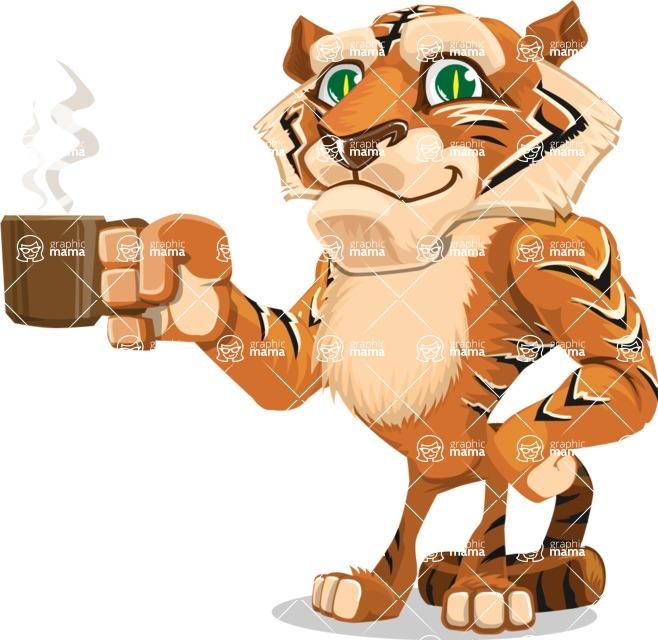 Cute Tiger Cartoon Vector Character AKA Tiger Bone - Coffee