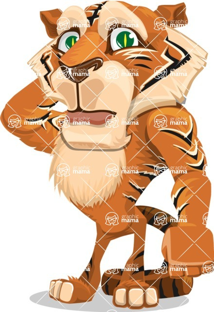 Cute Tiger Cartoon Vector Character AKA Tiger Bone - Confused