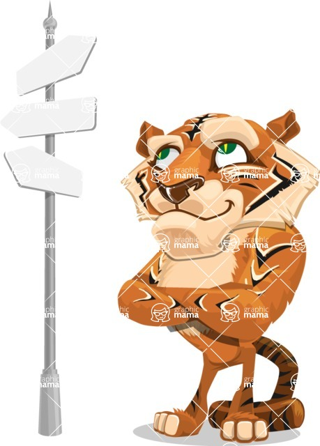 Cute Tiger Cartoon Vector Character AKA Tiger Bone - Crossroad