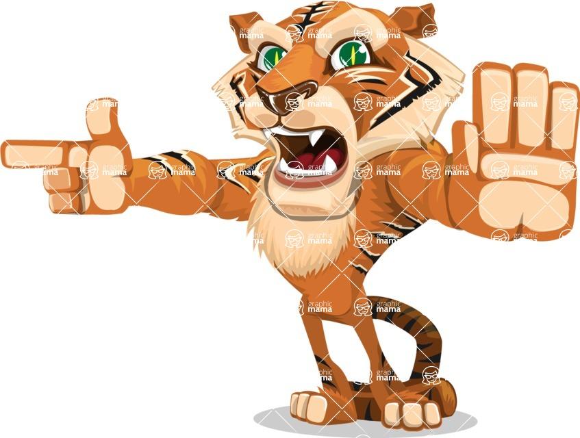Cute Tiger Cartoon Vector Character AKA Tiger Bone - Direct Attention