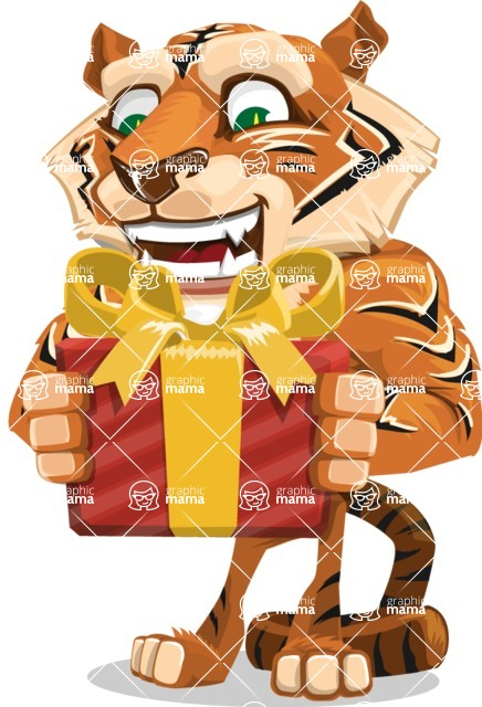 Cute Tiger Cartoon Vector Character AKA Tiger Bone - Gift