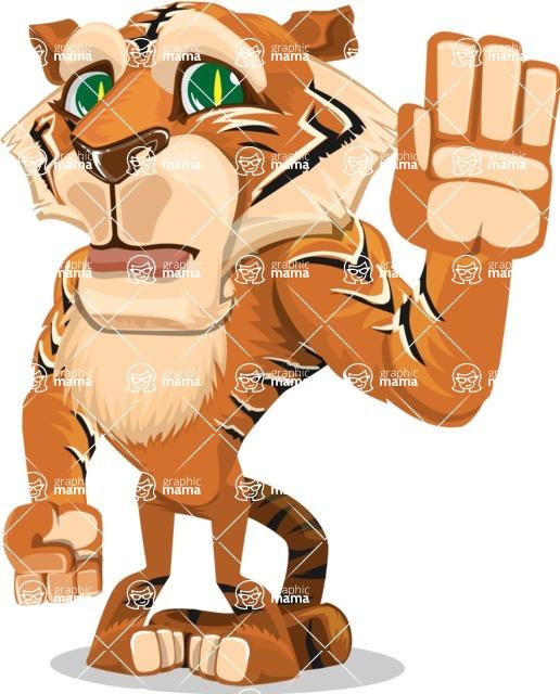 Cute Tiger Cartoon Vector Character AKA Tiger Bone - Goodbye