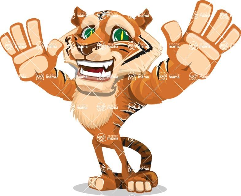 Cute Tiger Cartoon Vector Character AKA Tiger Bone - Hello