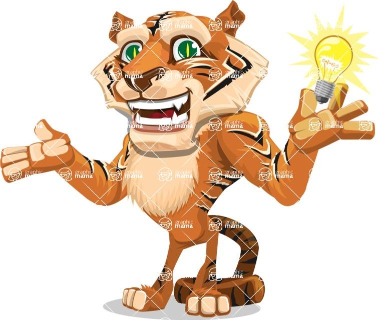 Cute Tiger Cartoon Vector Character AKA Tiger Bone - Idea 1