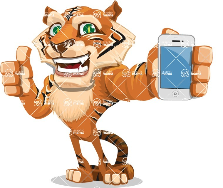 Cute Tiger Cartoon Vector Character AKA Tiger Bone - iPhone