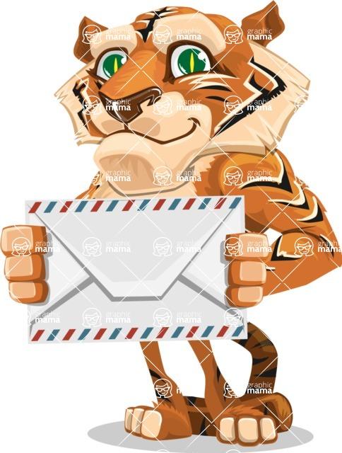 Cute Tiger Cartoon Vector Character AKA Tiger Bone - Letter