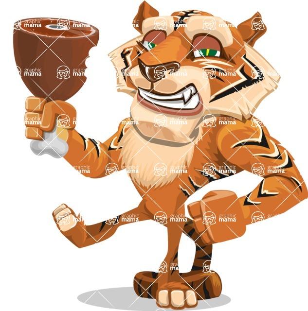 Cute Tiger Cartoon Vector Character AKA Tiger Bone - Meat