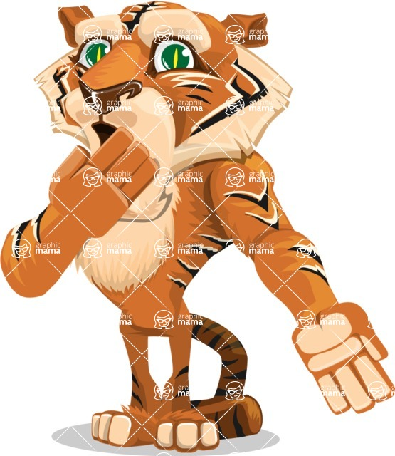 Cute Tiger Cartoon Vector Character AKA Tiger Bone - Oops