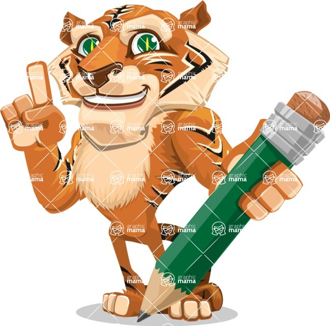 Cute Tiger Cartoon Vector Character AKA Tiger Bone - Pencil
