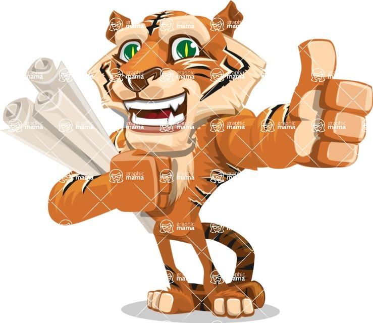 Cute Tiger Cartoon Vector Character AKA Tiger Bone - Plans