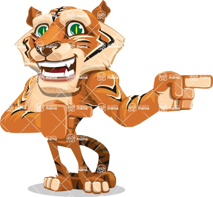 Cute Tiger Cartoon Vector Character AKA Tiger Bone - Point 2