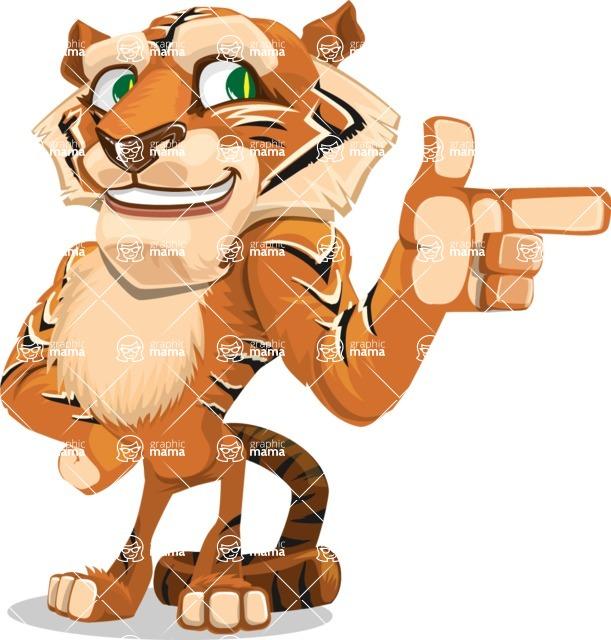 Cute Tiger Cartoon Vector Character AKA Tiger Bone - Point