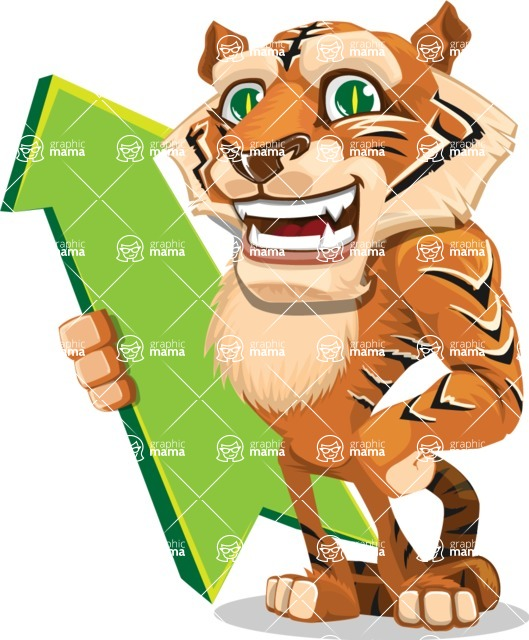 Cute Tiger Cartoon Vector Character AKA Tiger Bone - Pointer 1