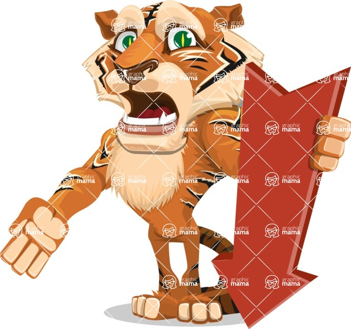 Cute Tiger Cartoon Vector Character AKA Tiger Bone - Pointer 3