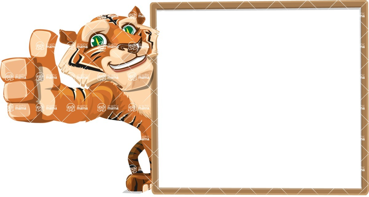 Cute Tiger Cartoon Vector Character AKA Tiger Bone - Presentation 5