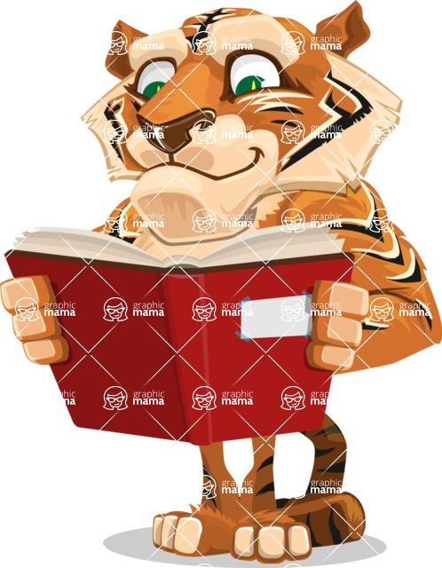 Cute Tiger Cartoon Vector Character AKA Tiger Bone - Reading a Book