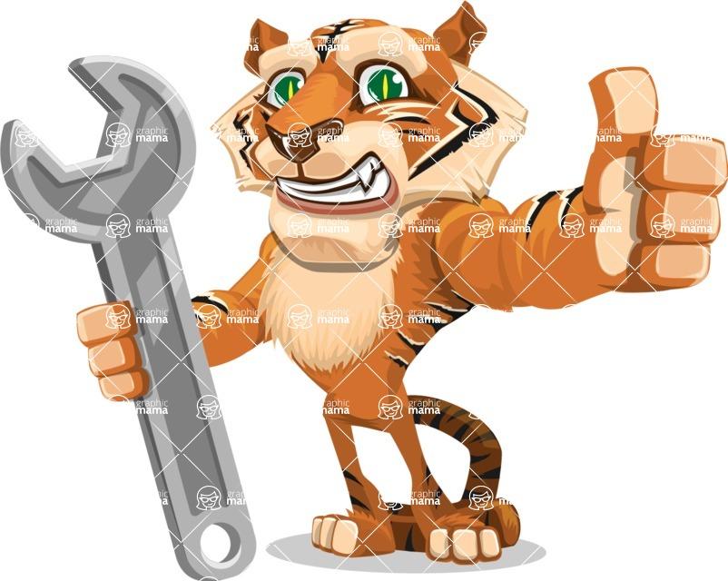 Cute Tiger Cartoon Vector Character AKA Tiger Bone - Repair