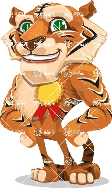 Cute Tiger Cartoon Vector Character AKA Tiger Bone - Ribbon