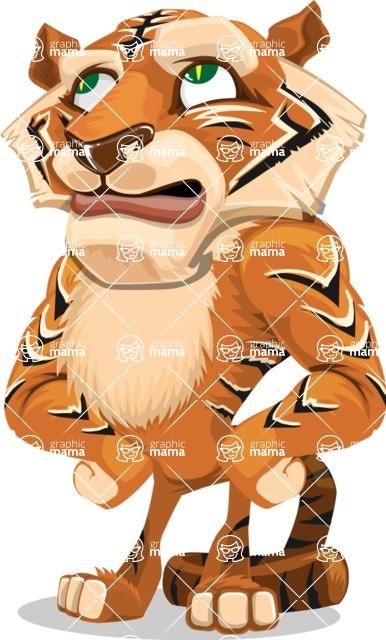Cute Tiger Cartoon Vector Character AKA Tiger Bone - Roll Eyes