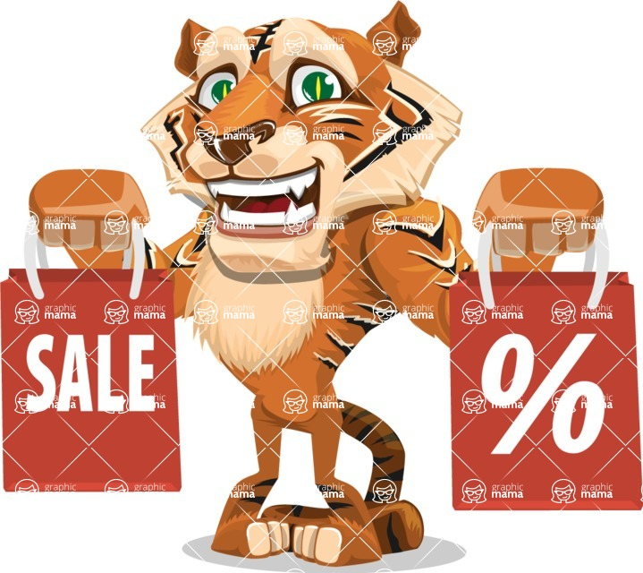 Cute Tiger Cartoon Vector Character AKA Tiger Bone - Sale 2