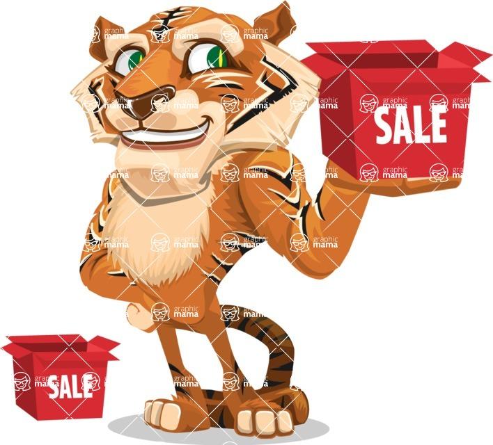 Cute Tiger Cartoon Vector Character AKA Tiger Bone - Sale