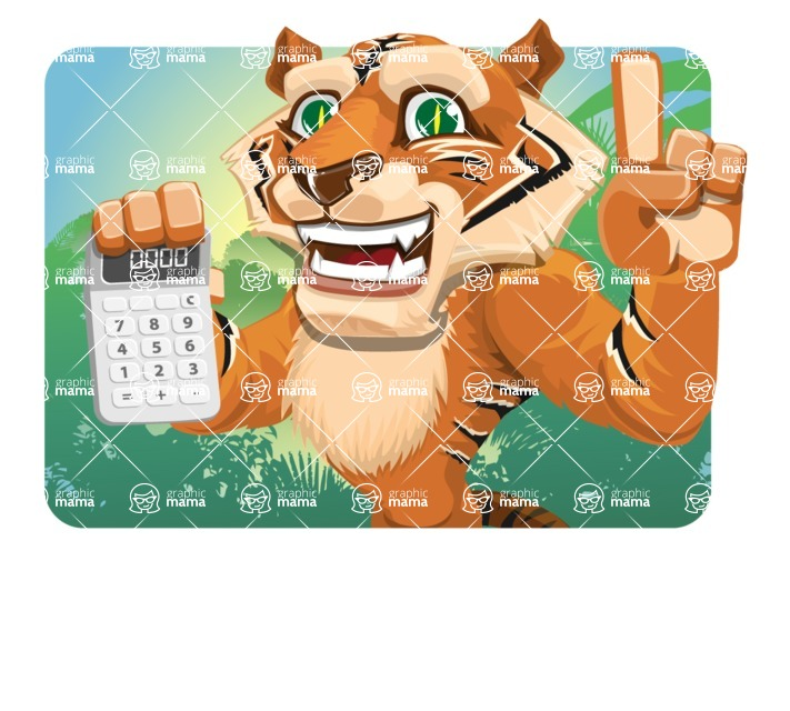 Cute Tiger Cartoon Vector Character AKA Tiger Bone - Shape 1