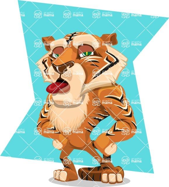 Cute Tiger Cartoon Vector Character AKA Tiger Bone - Shape 10
