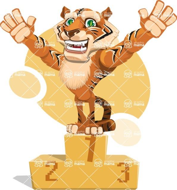 Cute Tiger Cartoon Vector Character AKA Tiger Bone - Shape 7