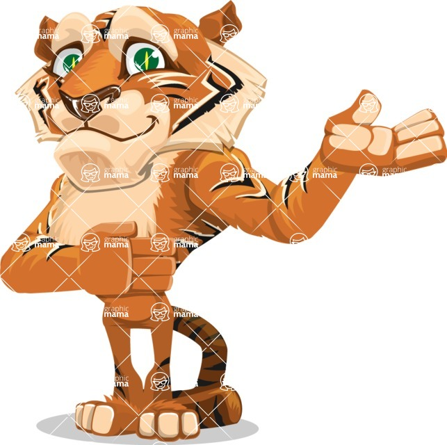 Cute Tiger Cartoon Vector Character AKA Tiger Bone - Showcase