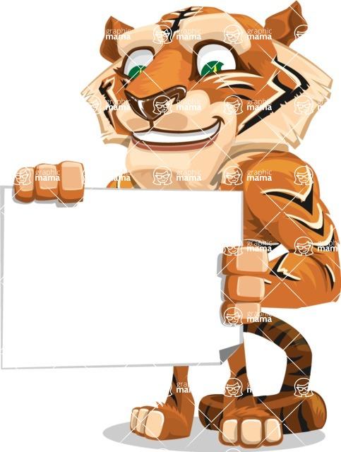 Cute Tiger Cartoon Vector Character AKA Tiger Bone - Sign 3