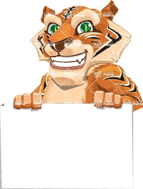 Cute Tiger Cartoon Vector Character AKA Tiger Bone - Sign 6