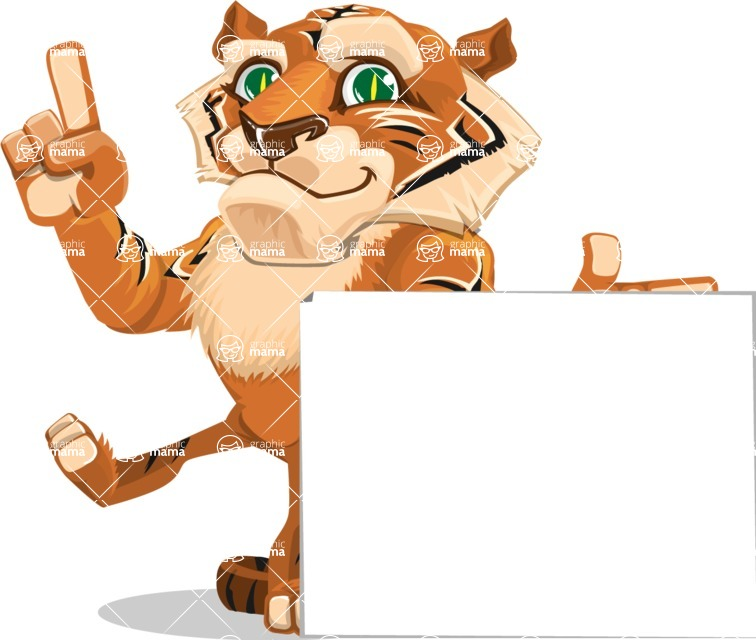 Cute Tiger Cartoon Vector Character AKA Tiger Bone - Sign 7