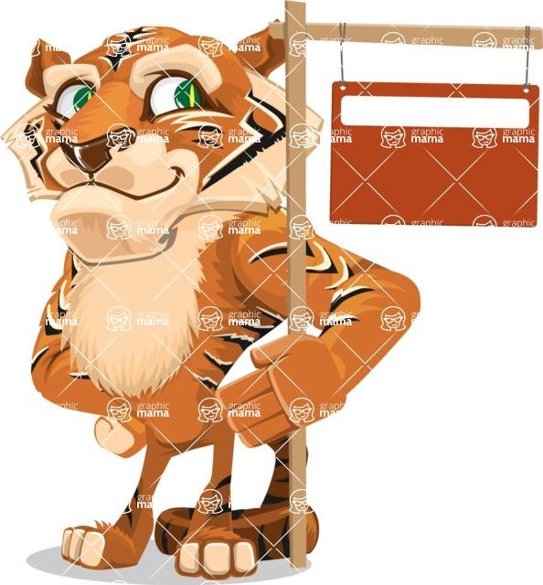 Cute Tiger Cartoon Vector Character AKA Tiger Bone - Sign 9
