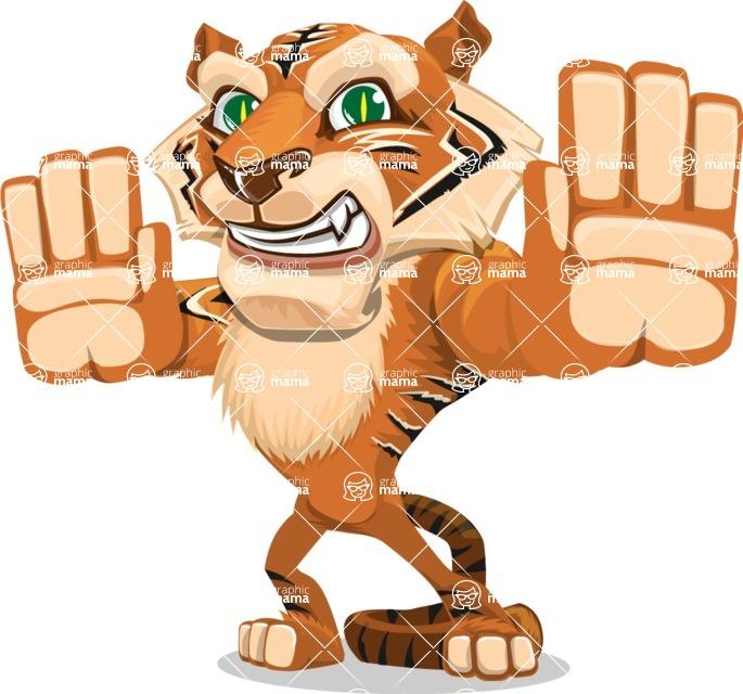 Cute Tiger Cartoon Vector Character AKA Tiger Bone - Stop